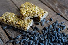 Kozinaki. Sunflower seeds and sweets Stock Images