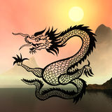East symbol 2012 year - dragon. On sunny abstract Stock Image