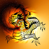 East symbol 2012 year - dragon. East symbol 2012 year - chinese dragon on sunny abstract Stock Photo