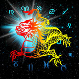 East symbol 2012 year - dragon. On a abstraction picture, cover for music cd and album Stock Images
