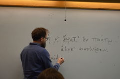 East Tennessee State University - Dr Thomas Crofts Teaches Greek Grammar Stock Image