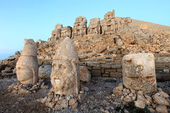 East terrace of Mount Nemrut at sunrise with the head in front o Stock Photography