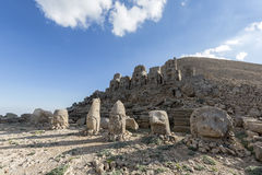 East terrace of Mount Nemrut, Turkey. Adiyaman, Turkey - May 27, 2017: Statues of East terrace at Mount Nemrut on May 27, 2017. The UNESCO World Heritage Site at Stock Image