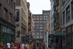 East 4th Street. Fans heading toward parade route at Cleveland Cavaliers Championship Parade Royalty Free Stock Photos
