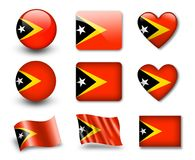 The East Timor flag. Set of icons and flags. glossy and matte on a white background Stock Images