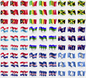 East Timor, Mali, Jamaica, Luxembourg,  Komi, Cayman Islands, Croatia, Cape Verde, Antarctica. Big set of 81 flags. Stock Photo