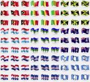 East Timor, Mali, Jamaica, Luxembourg,  Komi, Cayman Islands, Croatia, Cape Verde, Antarctica. Big set of 81 flags. Stock Photo