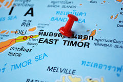East timor map. Macro shot of east timor map with push pin royalty free stock photo