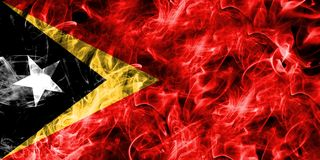 East Timor smoke flag isolated on a black background.  Stock Image