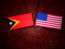 East Timorese flag with USA flag on a tree stump  Stock Photo