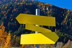 East Tirol, information sign in autumn mountains, Austria. Stock Photo