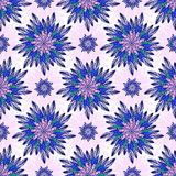East vector seamless pattern with abstract flowers. Indian purple background. Vector ornamental floral pattern for textile, linen Royalty Free Stock Images
