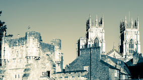 East View over Bootham Gate City Wall entry and Towers of York M Stock Image