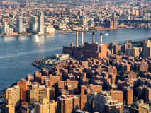 The East Village and the Con Edison East River generating statio Stock Images