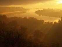 East of the Vistula River. Sunrise in Swiecie the Vistula River. Beautiful representation of nature Royalty Free Stock Photography