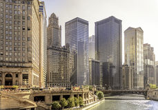 East Wacker Drive. Chicago River and skyscrapers in East Wacker Drive Stock Image