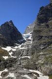 East wall of Eiger mountain. In the area of Grindelwald in the swiss mountains stock photos