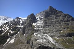 East wall of Eiger mountain. In the area of Grindelwald in the swiss mountains stock photo