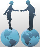 East West Business People on World Globe stock illustration