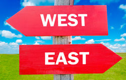 East or west. East and west choice showing strategy change or dilemmas royalty free stock images