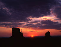 East & West Mitten Buttes. At sunrise in Monument Valley, Arizona Stock Photography