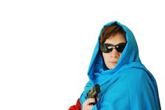 East woman holds handgun Stock Photography