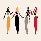 East women in veiled. Beautiful silhouette. Vector illustration stock illustration