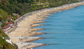 Eastbourne Beach. Showing sea defences (groynes royalty free stock photo