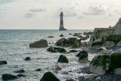 16/09/2018 Eastbourne, het Verenigd Koninkrijk Kiezelachtige HoofdVuurtoren stock fotografie