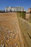 Eastbourne Hotel and beach Royalty Free Stock Photography