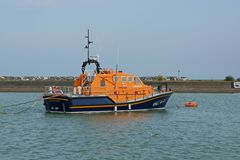Eastbourne Lifeboat in Sovereign Harbour. England Royalty Free Stock Photo