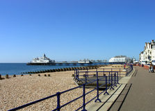 Eastbourne Pier. A general view of Eastbourne Pier pictured in the city of Eastbourne, in the UK. A short drive away from London is the elegant southern coast stock images