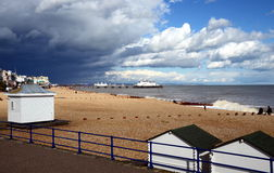 Eastbourne Pier and beach, East Sussex, England, UK. Stock Image