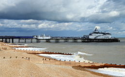 Eastbourne Pier and beach, East Sussex, England, UK. Stock Photos