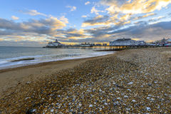 Eastbourne Pier and beach, East Sussex, England, UK Royalty Free Stock Photography