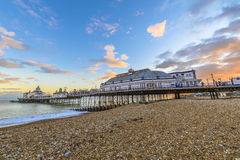 Eastbourne Pier and beach, East Sussex, England, UK Stock Photo