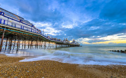 Eastbourne Pier and beach, East Sussex, England, UK Stock Image