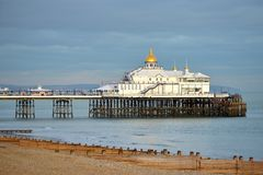 Eastbourne pier. East Sussex, as the sun sets Royalty Free Stock Images