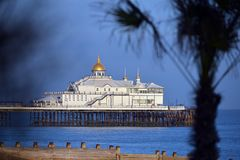 Eastbourne pier. East Sussex, UK, on a sunny evening royalty free stock images