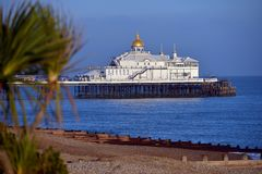 Eastbourne pier. East Sussex, UK, on a sunny evening royalty free stock photos