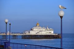 Eastbourne pier. East Sussex, UK, on a sunny evening royalty free stock image
