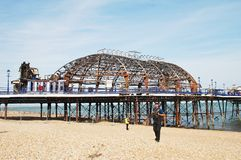 Eastbourne pier fire, July 2014 Stock Images