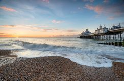 Eastbourne Pier. Stunning sunrise at Eastbourne pier on the south coast of Sussex Royalty Free Stock Image