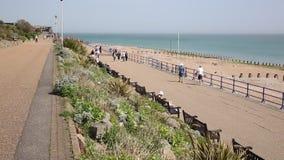 Eastbourne Reino Unido com os povos que andam no passeio da frente marítima vídeos de arquivo