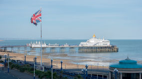 Eastbourne`s pier and beach at English Channel. stock image
