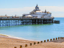 Eastbourne's pier and beach at English Channel, United Kingdom Royalty Free Stock Images