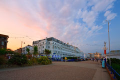 Eastbourne seafront. Eastbourne seafront in the evening, East Sussex, UK royalty free stock image
