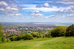 Eastbourne seaside resort viewed from South Downs Way National T. Eastbourne seaside resort viewed from the South Downs Way, a long distance footpath and royalty free stock photography