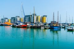 Sovereign Harbour in Eastbourne, East Sussex, UK. EASTBOURNE, SUSSEX, UK - MAY 20,2018: Opened in 1993, Sovereign Harbour in Eastbourne consists of four separate stock photos