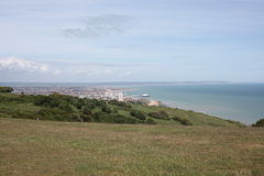 Eastbourne View. View from hill above Eastbourne. Hill is located on the way from Eastbourne beach to Eastbourne lighthouse Royalty Free Stock Image